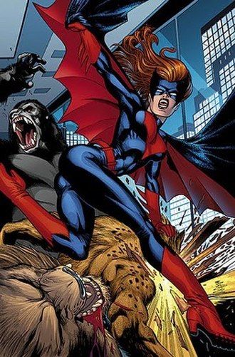 Batwoman - Kate Kane battles Whisper A'Daire's bestial followers as Batwoman. Art by Keith Giffen.