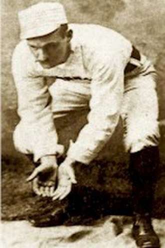 Baseball glove - Bid McPhee simulating playing second base without a glove