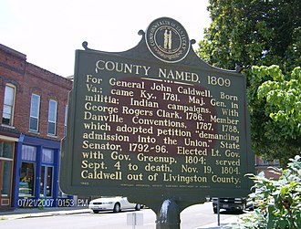 Caldwell County, Kentucky - Historical marker in Princeton