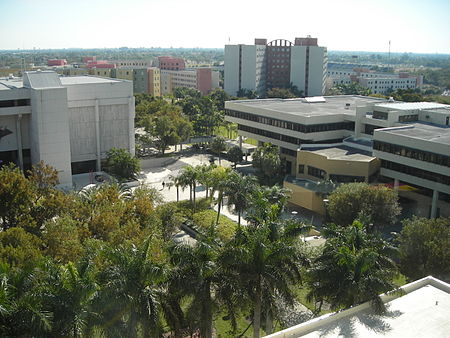 View of the campus towards Primera Casa and Deuxieme Maison. The campus' oldest buildings are classic examples of Brutalist architecture. DM square.JPG