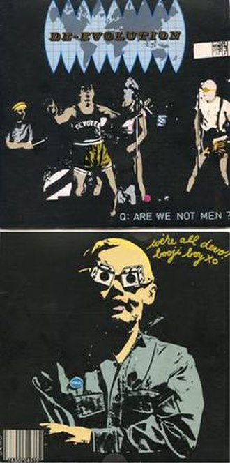 """Devo - The front and back covers of Devo's first release, the 45rpm single """"Mongoloid"""" b/w """"Jocko Homo"""" (1977), released on the band's Booji Boy Records"""