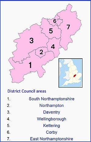 Northamptonshire County Council election, 2013 - Image: District Councils Northants 2