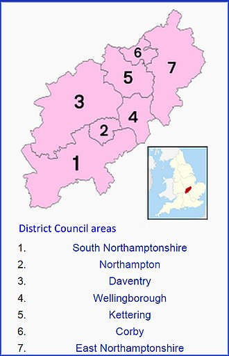 Northamptonshire County Council election, 2013 - Image: District Councils Northants 2