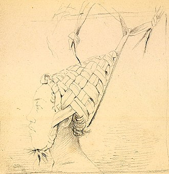 Tabiteuea - Drawing of a native of the island, showing his distinctive conical headdress; drawn by Alfred Thomas Agate