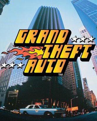 Grand Theft Auto (video game) - The cover of Grand Theft Auto, showing the game's logo laid over the Trump Tower in New York City