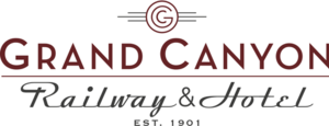 "Logo for the Grand Canyon Railway with the copyrighted G and the words ""Grand Canyon Railway & Hotel Est. 1901"""