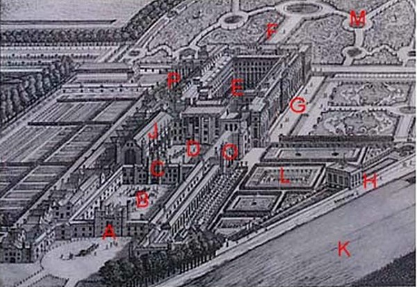 Hampton Court Palace, with marked reference points referred to on this page. A: West Front & Main Entrance; B: Base Court; C: Clock Tower; D: Clock Court, E: Fountain Court; F: East Front; G: South Front; H: Banqueting House; J: Great Hall; K: River Thames; L: Pond Gardens; M: East Gardens; O: Cardinal Wolsey's Rooms; P: Chapel Hampton Court Key.jpg