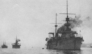 French battleship Justice - Justice leading the French fleet
