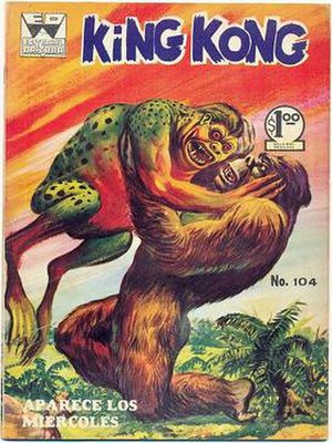 King Kong (comics) - King Kong battles a gigantic strange-looking humanoid frog creature from issue No. 104 of the Mexican King Kong series. Published by Editorial Orizaba