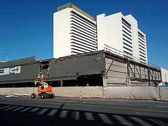 Downtown Grand - Workers tearing down portions of the casino for renovation in October 2012.