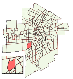 Location of Linden Woods within Winnipeg