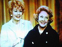 """Vivian Vance (right) as Vivian Bagley Bunson in a 1967 episode of The Lucy Show, entitled """"Viv Visits Lucy""""; pictured with Lucille Ball (left) as Lucy Carmichael"""