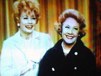 """Vivian Vance - Vivian Vance (right) as Vivian Bagley Bunson in a 1967 episode of The Lucy Show, entitled """"Viv Visits Lucy""""; pictured with Lucille Ball (left) as Lucy Carmichael"""