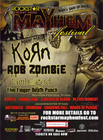 Mayhem Festival 2010 - Promotional poster for Mayhem Festival 2010.