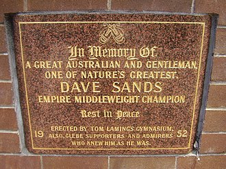Dave Sands - Memorial to Dave Sands in Glebe, Sydney, Australia