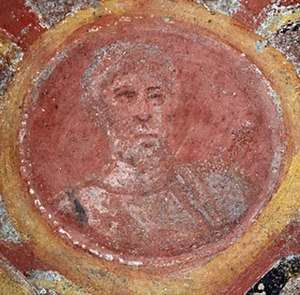 Saint Peter's tomb - Fourth century glass mosaic of Saint Peter, located at the Catacombs of Saint Thecla.