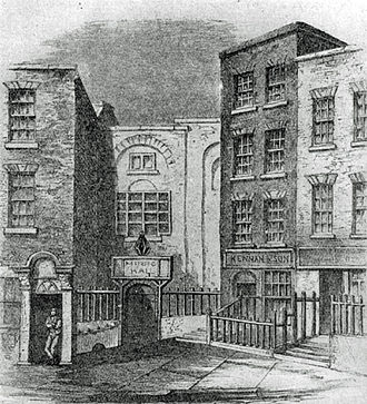 1742 in Ireland - The Great Music Hall in Fishamble Street, Dublin, scene of the first performance of Handel's Messiah
