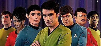 Star Trek: New Voyages - Original cast, left to right: Bray, Irons, Quinn, Cawley, Kelley, Root, and Lim.
