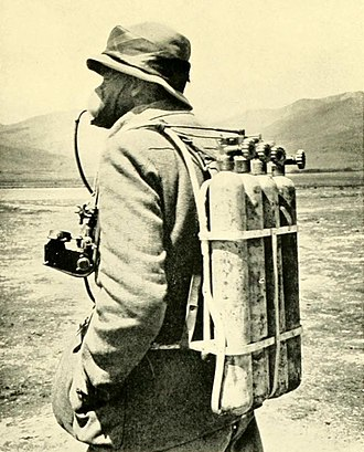 Geoffrey Bruce (Indian Army officer) - Image: Oxygen equipment on 1922 Everest expedition