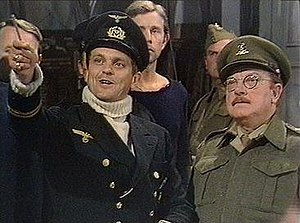 Philip Madoc - Phil Madoc (left) with Arthur Lowe in the Dad's Army episode The Deadly Attachment (1973)