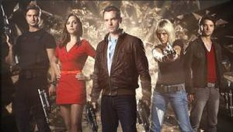 Primeval (TV series) - Fifth series cast (left to right): Ben Mansfield, Ruth Kearney, Ciarán McMenamin, Hannah Spearritt and Andrew-Lee Potts