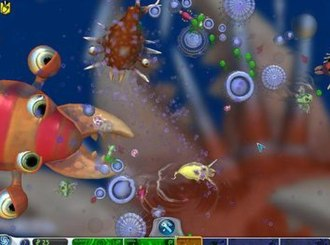 Spore (2008 video game) - A screenshot of a near-final prototype cell stage. The large creatures in the background are drawn into the foreground as the player's organism evolves.