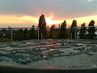 Russia Dock Woodland - Bronze by Michael Rizzello at sunset.