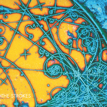 Mostly orange album cover containing largely in the right-hand side random turquoise lines intersections doodles circles and other abstract shapes It is captioned THE STROKES in the bottom left-hand corner