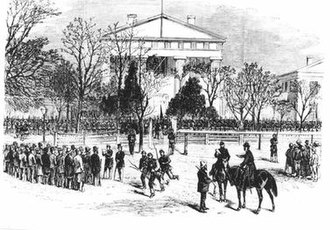Brooks–Baxter War - Image depicting an artists interpretation of Brooks and Baxter troops on the Old State House lawn. This image, however, is based on a photograph dating to the civil war. By the time of the Brooks-Baxter War the split rail fence had been replaced by the wrought iron that is there now.