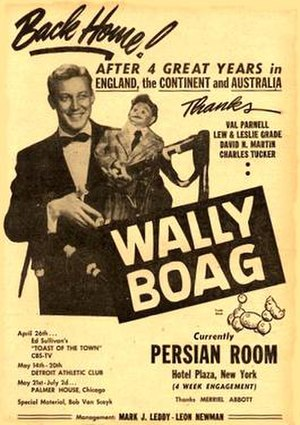 Wally Boag - An advertisement from Wally Boag's pre-Disney days.