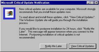 Windows Update - Screenshot of the Critical Update Notification tool in Windows 98.