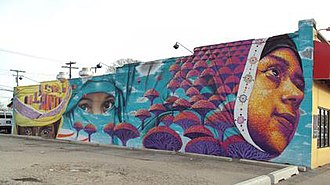 History of the Middle Eastern people in Metro Detroit - Yemeni mural by Dasic Fernandez in Hamtramck, Michigan