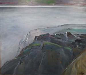 Hawaiian art - From Cliffs to Evening by Reuben Tam, oil on canvas, 1978, Honolulu Museum of Art
