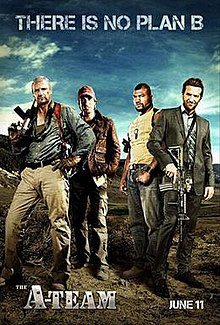 The actors Liam Neeson, Bradley Cooper, Quinton Jackson and Sharlto Copley from the movie The A-Team