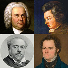 Four mugshots of old composers
