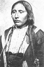 A black and white photograph of Addoeette, also known as Big Tree, facing oblique to the camera with left shoulder slightly forward. He is a Native American from the Kiowa tribe, wearing an officer's dress uniform jacket with wicker front peace and a long beaded chain with a circular ring. His hair is braided down his left shoulder and tied with ribbon and wood decoration. Picture undated but appears circa 1880.