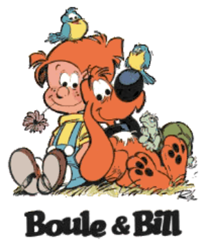 Boule et Bill - Boule and Bill with the logo of the series