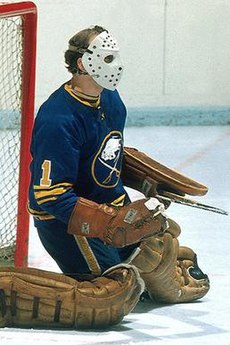 Roger Crozier is wearing a predominantly blue jersey, white mask, along with a brown glove, blocker, and pads. He is kneeling on the ice while holding a goalie stick. Located in the middle of his jersey, is the Sabres' logo, which consists of a buffalo on top of two crossed sabres.