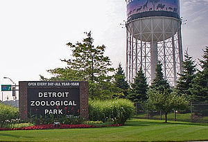 Detroit Zoo -  Detroit Zoo Entrance and water tower