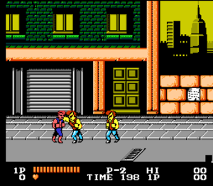 Double Dragon (video game) - The first fight scene in the NES version of the game