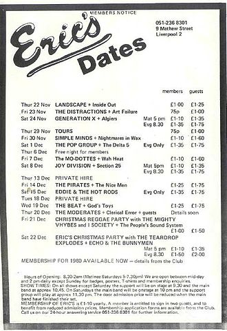 Eric's Club - An Eric's club gig flyer from 1979