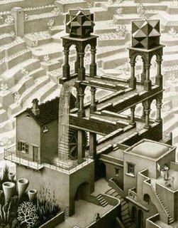 <i>Waterfall</i> (M. C. Escher) Lithograph print by M. C. Escher