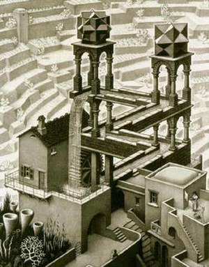 "Polyhedrons and impossible constructions in Escher's ""Waterfall"" (Photo credit: Wikipedia)"