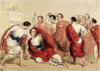 A depiction of the murder of Julius Caesar, with Robert Peel portrayed as Caesar, and British political rivals depicted as his assassins