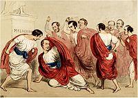 Une représentation du meurtre de Jules César, avec Robert Peel dépeint comme César, et des rivaux politiques britanniques dépeints comme ses assassins