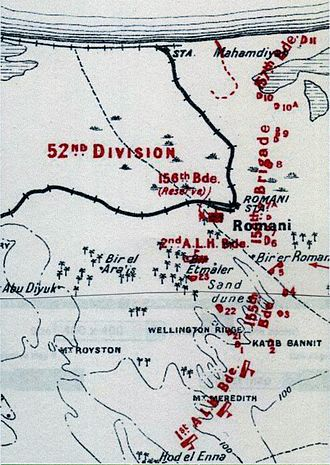 Harry Chauvel - Romani defences at nightfall 3 August 1916: deployments of the 52nd (Lowland) Division's infantry brigades in a line of redoubts 1 to 11 and 21 to 23, with the 1st and 2nd Light Horse Brigades extending the line of defence towards Hod el Enna