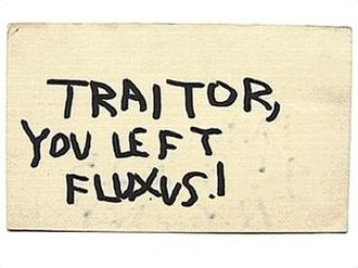Fluxus - Traitor, you left Fluxus!, a postcard sent by George Maciunas to Nam June Paik, c late 1964, after the latter's involvement with Stockhausen's Originale
