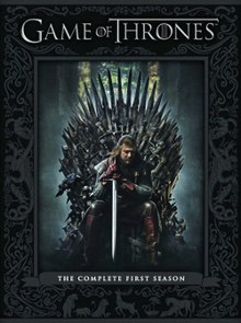 Game of Thrones Season 1, Region 1 DVD box artwork, depicting Eddard Stark on the Iron Throne