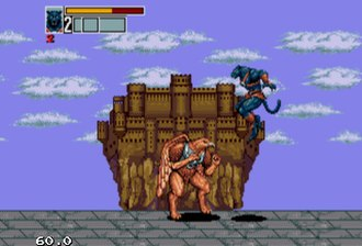 Golden Axe III - Chronos (jumping) fighting a boss (Eve)