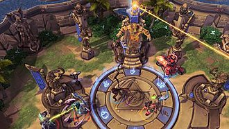 Heroes of the Storm - Captured temple fires laser beam on red team's forts on Sky Temple map.